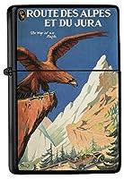 Pocket Vintage Windproof lighter ライター Brushed Oil Refillable Alps eagle France