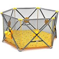 フェンスフォールディング無料のインストールの安全ベビー子供のゲームの幼児のフェンス (Color : Yellow, Size : 146 * 146 * 77cm)