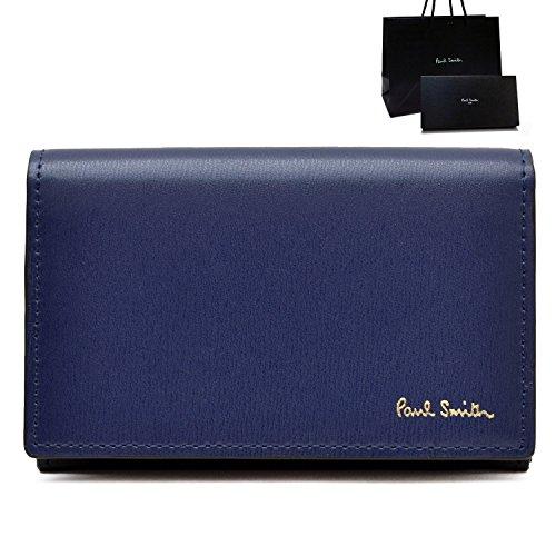 [名入れA筆記体] ポールスミス Paul Smith 正規品 本革 シティエンボス 名刺入れ ブルー ショップバッグ付 カードケース (名入れあり, ブルー)