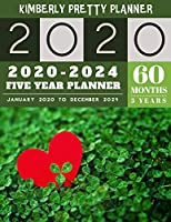 5 year planner 2020-2024: 60 Months Calendar Large size  8.5 x 11 2020-2024 planner, organizer and internet logbook | Lucky clover design (5 year monthly planner 2020-2024)