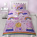 Peppa Pig Friends Duvet Cover With Matching Pillowcase - Two Sided Reversible Hooray Rainbow Design, Microfibre, Pink, Single