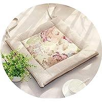 リネンオフィスの畳のクッションマット夏の通気性のシンプルな家庭食卓のクッション,(方形)米白边+花面,直径30*30*厚4cm