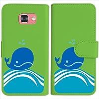 sslink SC-04J Galaxy Feel ギャラクシー 手帳型 グリーン ケース くじら クジラ マリン ダイアリータイプ 横開き カード収納 フリップ カバー