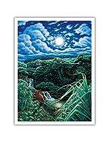 満月オーバーセブン聖なるプール - のプール 'Ohe'o, マウイ島ハワイ - ペイントされた元の色からのものです によって作成された ハンス・オルソン - アートポスター - 23cm x 31cm