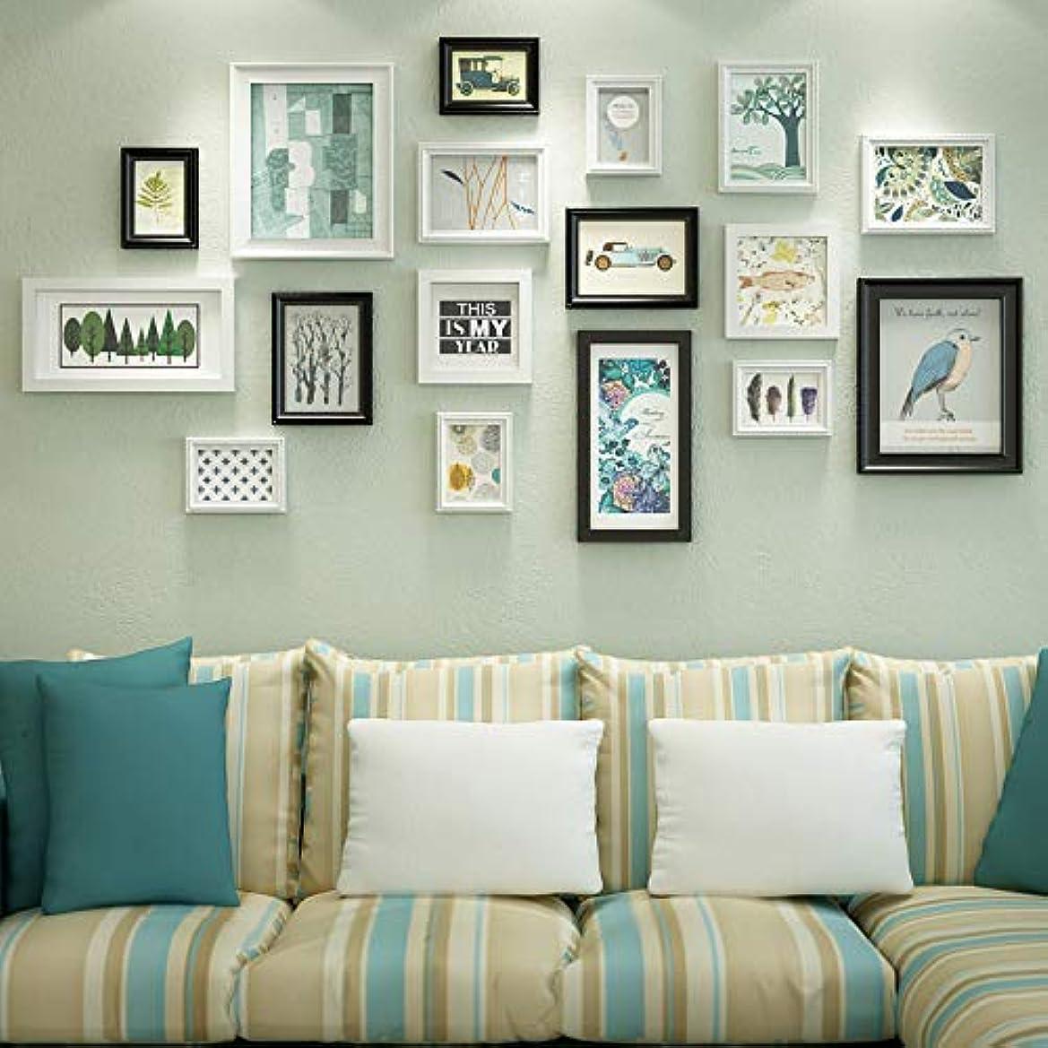 受取人普通の立証する無垢材の壁の写真フォトフレームコラージュセット、13の写真フレーム、複数の大きなギャラリーフレーム、創造的なリビングルームのダイニングルームの背景の壁の装飾、B