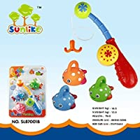 Sunlike Happy Fishing Game Bath Toy Playset - Fishing Rod & 3 Cute Rubber Spotted Fish for Baby Kids Gifts [並行輸入品]