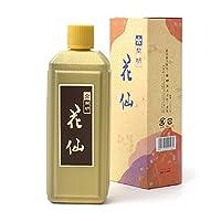 【墨液 花仙 400cc 開明】漢字・かな・水墨画に適した淡墨表現も可能な「花仙」は古墨の特徴を出すために特別な製法で作られた墨液です。