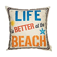 fahrendom Life Is Better At The BeachヴィンテージCoastal Signコットンリネンホームデコレーションスロー枕カバークッションカバーwith Words for Sofa Couch 18x 18in