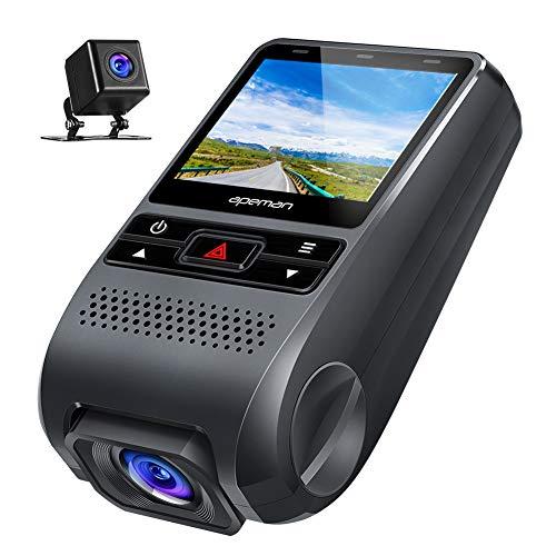 ドライブレコーダー 前後カメラ【進化版】 1080PフルHD 1200万画素 170度広角 デュアルレンズ Gセンサー搭載 車載カメラ WDR APEMAN 常時録画 駐車監視 動き検知 ドラレコ 地デジ対策済 防水カメラ
