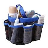 FakeFace バスルームバケツ 浴室収納バッグ メッシュ 手持ち 8仕切りポケット ハンドル 便利 お風呂用具入れ 温泉 ブルー