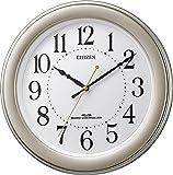 CITIZEN ( シチズン ) 電波 掛け時計 連続秒針 見やすい 凸文字 ゴールド 8MY509-018