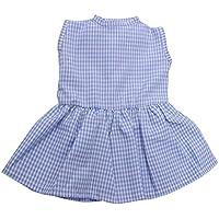 SONONIA かわいい ワンピース ノースリーブ チェックドレス 18インチアメリカンガールドール用 全5色 - ブルー