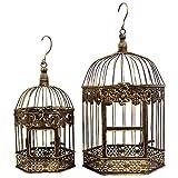 鳥かご とりかご 鳥籠 オブジェ インテリア 置物 置き物 mu-ra トリカゴオブジェシリーズ (アンティーク, M&Lヘキサゴン2個セット)