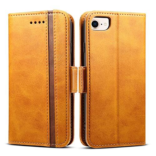 iPhone8 ケース 手帳型 iPhone7 iphone6s - Rssviss 4機種対応 サイドマグネット カード収納 Qi充電対応 横置き機能 ストラップ通し穴 高級PUレザー (iPhone6/6s/7/8兼用) W5 レトロブラウン