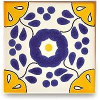 【B'stile】絵画のような壁タイル「メキシコタイル」M181-4(陶器質|100mm角|屋外壁/屋内壁用)1枚