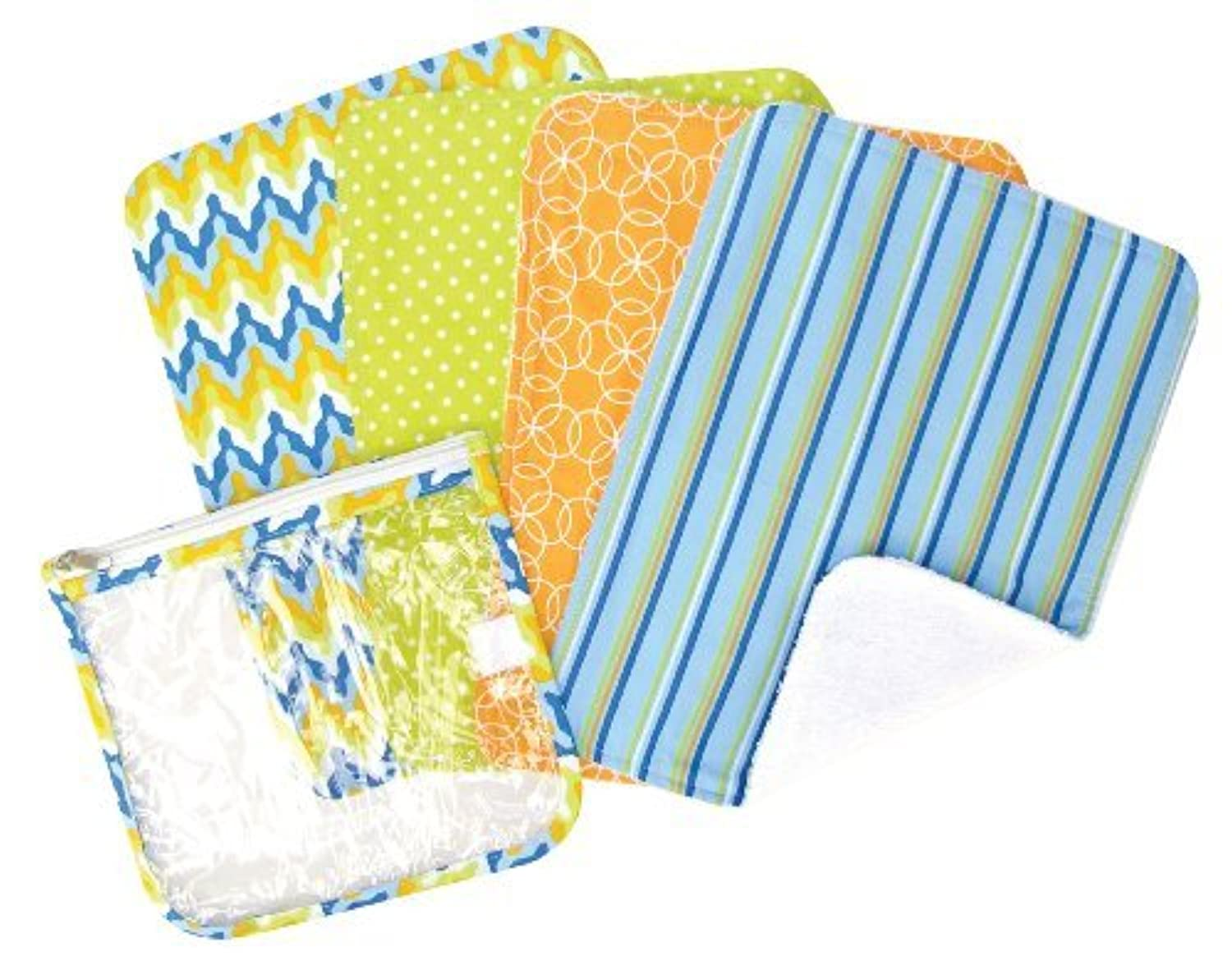 Trend Lab Zipper Pouch and 4 Burp Cloth Gift Set, Levi Blue by Trend Lab [並行輸入品]