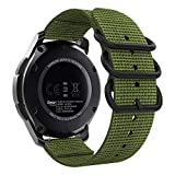 MoKo Watch Band Fit Samsung Gear S3/Gear S3 Classic/Frontier/Galaxy Watch 46mm/Ticwatch pro/E2/S2/Huawei Watch GT 46mm, 22mm Fine Woven Nylon Adjustable Strap with Double Rings - Army Green