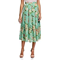 oodji Collection Womens Pleated Skirt in Flowing Fabric