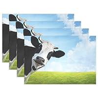 "Wozo Funny Cow On Green Summer Meadowブルースカイプレースマットテーブルマット12"" x 18""ポリエステルテーブルPlace Mat forキッチンダイニングルーム Package Quantity: 4"