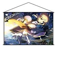 COSSKY タペストリー Fate/Grand Order フェイト グランド オーダー FGO Saber アルトリア・ペンドラゴン ポスター 掛ける絵 巻物 軸物 アニメ おしゃれ 萌え (90cmX60cm)