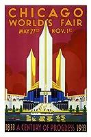 シカゴ・ワールドフェア 1933 レトロトラベルポスター 12x18インチ 24x36 inches 339408