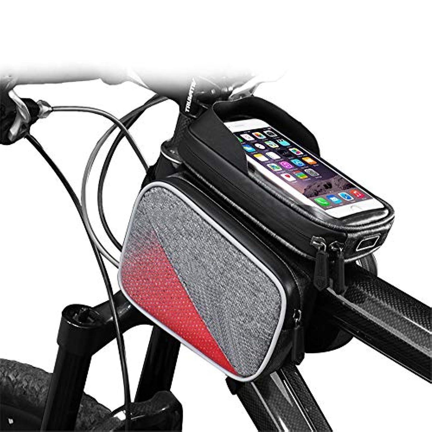 不利益小間草自転車シートパックバッグ自転車防水車のフロントバッグマウンテンバイクタッチスクリーンフロントビームバッグアッパーチューブバッグ用6.0