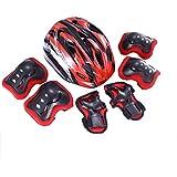 Balance Wheel Slip Children's Sports Protective Gear Set Outdoor Sports Bike Skateboarding Skates Shatter-Resistant Knee Helmet ; (Color : Black red)