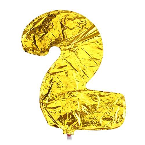 (ラボーグ) La Vogue アルミバルーン 風船 16インチ 40cm 0-9数字自由選択 イベント 二次会 パーティー 結婚式用品 装飾 飾り ゴールド 1枚入れ 金色数字 (2)