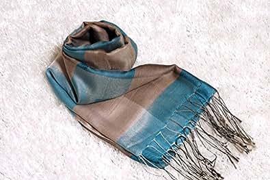 【高級シルク】Cocosilkココシルクベトナムシルク100% ショール ブルー&グレー IN0108Coco silkアジアン: シューズ&バッグ