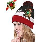 youniker LED Light Up Hatビーニーニットキャップ、6カラフルなLEDライトレディースクリスマスの帽子クリスマス帽子ビーニーのガールズメンズHoliday帽子パーティークリスマスギフト