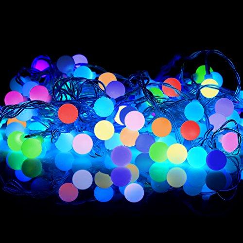 マルチ カラーボールイルミネーションRGBライト,10m100球ストレート 防滴仕様 レインボーカラー 結婚式用 装飾 照明 クリスマスライト パーティー/ 7色 ストリングスライトKingstar