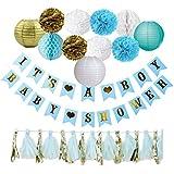 ベビーシャワーデコレーション 男の子の赤ちゃんのシャワーバナー ランタン ポンポン ハニカムボール タッセル付き ブルー ゴールド & ホワイト GENDER REVEAL ホームデコレーション ナースリー 誕生日 記念品 グローバルプラグ エンパイア