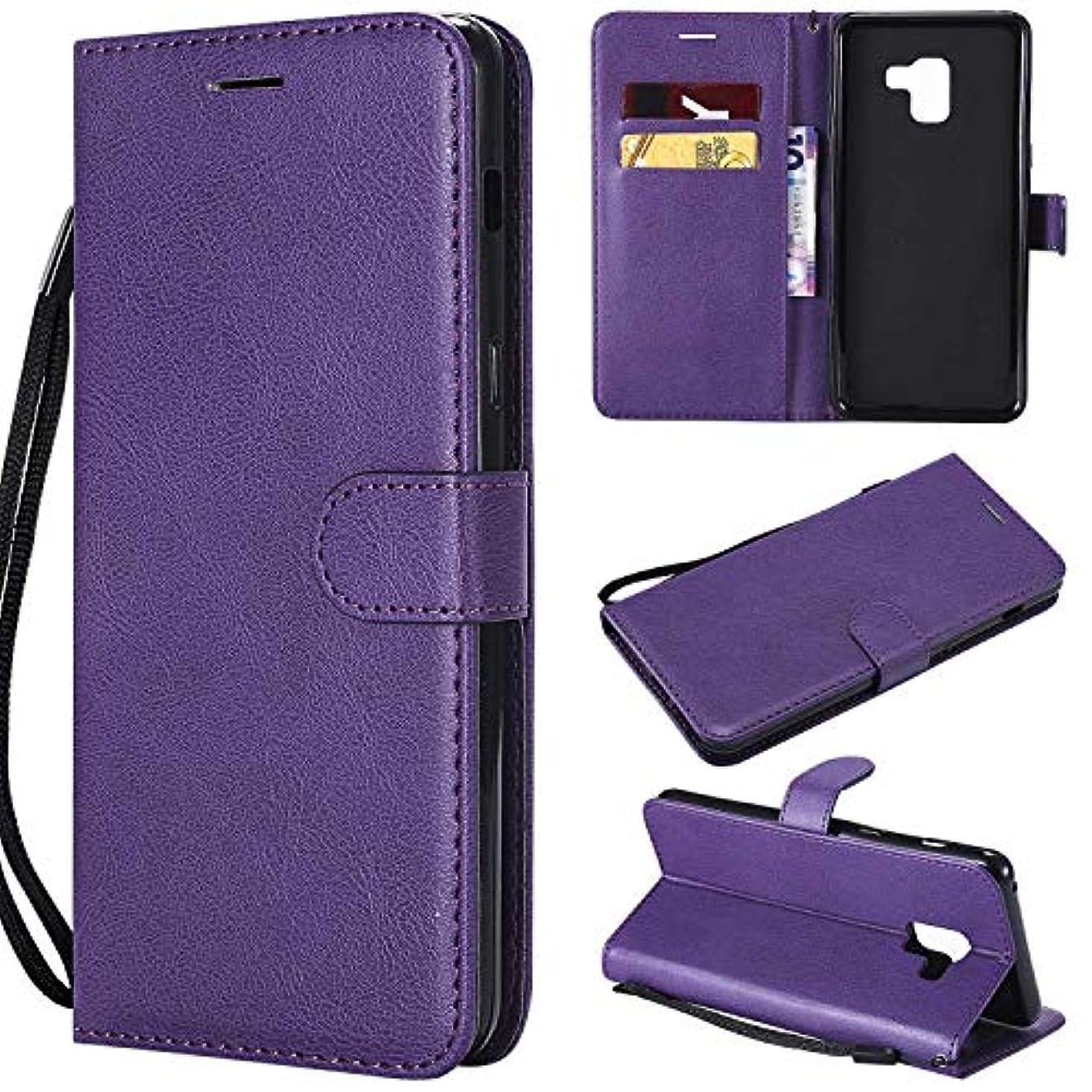 ブルクレジットダッシュGalaxy A8 Plus ケース手帳型 OMATENTI レザー 革 薄型 手帳型カバー カード入れ スタンド機能 サムスン Galaxy A8 Plus おしゃれ 手帳ケース (5-パープル)