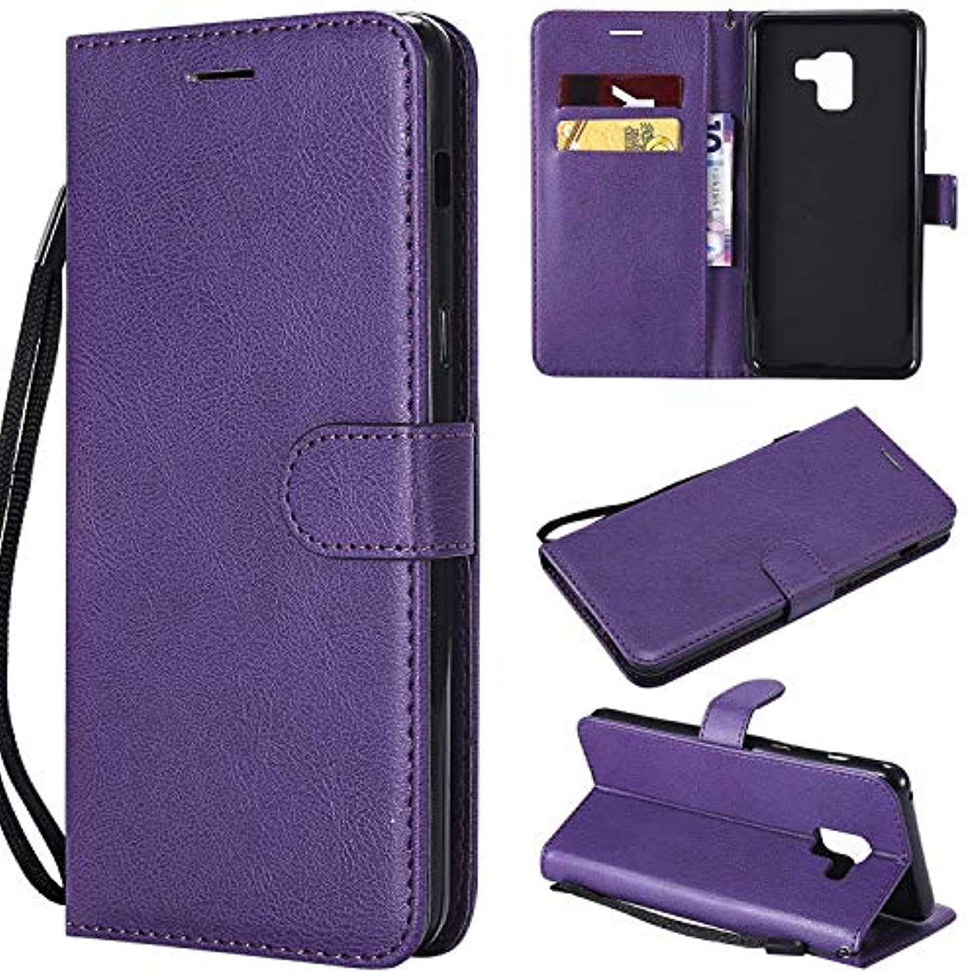 ブロッサムジェット接続されたGalaxy A8 Plus ケース手帳型 OMATENTI レザー 革 薄型 手帳型カバー カード入れ スタンド機能 サムスン Galaxy A8 Plus おしゃれ 手帳ケース (5-パープル)
