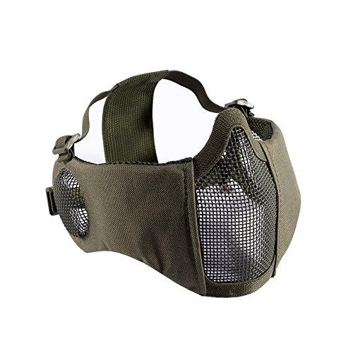 OneTigris 耳保護付き メッシュ フェイスマスク ハーフマスク 曇らないフェイスガード サバゲー装備 コスプレ用 (オリーブドラブ)