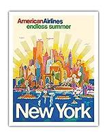 ニューヨーク - アメリカン航空 - 無限の夏 - ビンテージな航空会社のポスター によって作成された ハリー・ヴェンツィンガー c.1971 - アートポスター - 28cm x 36cm