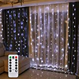 AMARS 2M*2M LEDカーテンラ 電池式 イト リモートコントロール タイマー イルミネーション 防水 屋内屋外使用可能 結婚式 パーティー 飾り ライト 正月 クリスマス 飾り バレンタインデ (白色光)