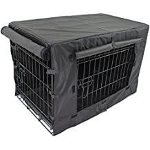 """Pet Dog Crate + Waterproof Cover   Metal Folding Cage Portable Kennel House Training Puppy Kitten Cat Rabbit with Removable Tray (Small 24"""" + Cover)"""