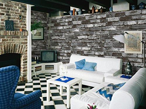 HaokHome 69092 DIY レンガ タイル ブロック壁紙 壁用 おしゃれ ブリックパターン  ストーン 3D 屋内 ベッドルーム装飾 53cm×10m