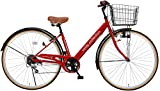 Voldy 完成自転車 27インチ LEDライト CTV-276-B シマノ製6段変速 男性 女性兼用 適正身長155cm以上 レッド