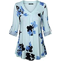 Lotusmile Casual Long Sleeve Tops for Women,Floral Print Pleated V Neck Plus Size 3/4 Cuff Sleeve Causal Blouse Tops Tunic Shirt,Light Blue M