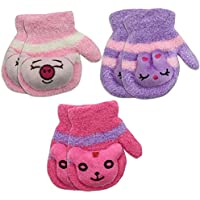 3 Pair Pack Toddler Baby Girls Warm Winter Mittens Gloves - Cute Fuzzy (Ages 1-3)