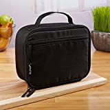 Fit & Fresh Insulated Soft-Sided Lunch Box for Kids and Adults, Lightweight, Leak Resistant, BPA Free, Classic Black