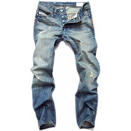 (シャンディニー) Chandeny ダメージ デニム パンツ メンズ Gパン ストレート ジーンズ ビンテージ シンプル 07781 ブルー 30サイズ