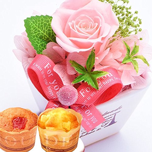 花とスイーツセット プリザーブドフラワー 薔薇プリザとカップ...