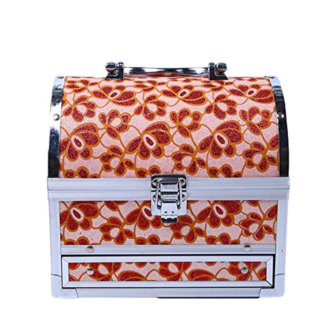 親指放射性役員化粧オーガナイザーバッグ 美容メイクアップのための大容量ポータブル化粧ケース、女性化粧ミラー付きのロック付き女性旅行と毎日の保管 化粧品ケース
