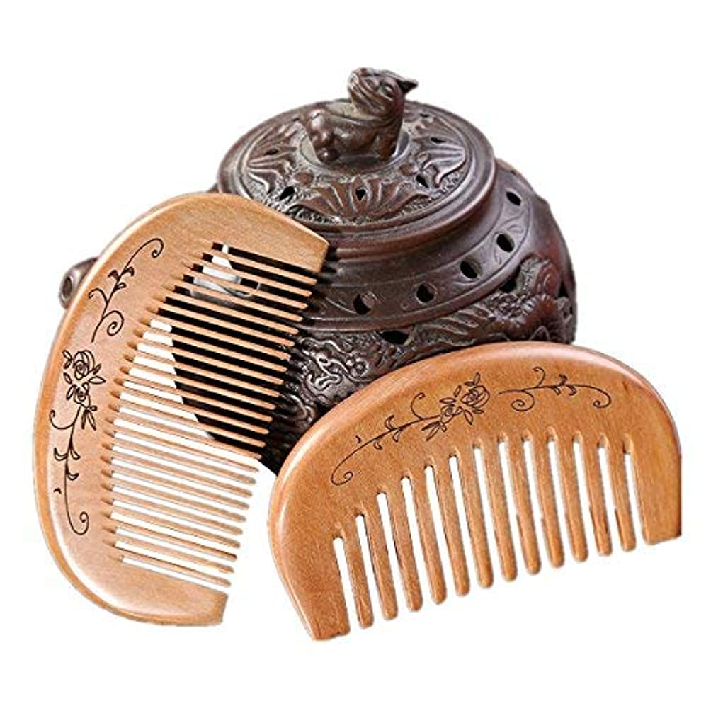 XINFU Natural Peachwood Portable Mini Hair Comb 2-Pieces Anti Static Relieve Fatigue Massage Comb [並行輸入品]