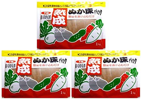 奈良つけもん屋の 熟成ぬか床パック(冷蔵庫用) 1kg×3袋...