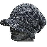 【ノーブランド品】 ニット帽 ニットキャスケットプリーツ 秋冬 グレー メンズ帽子レディース …