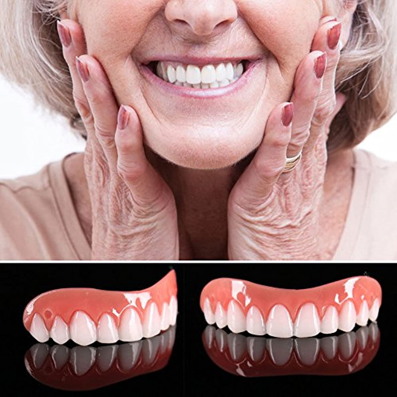防衛殺人賢明な5ピースアッパーフェイク歯科用ベニアコンフォートフィット歯トップ化粧品ベニアワンサイズフィットすべての義歯接着剤歯偽義歯歯笑顔